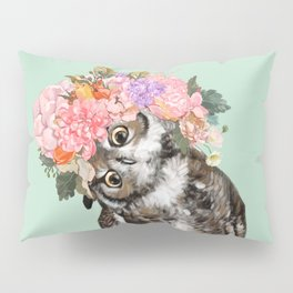 Owl with Flowers Crown in Green Pillow Sham