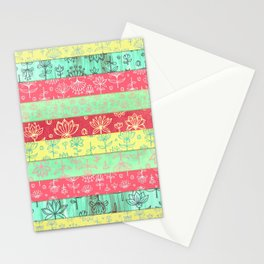 Lily & Lotus Layers in Mint Green, Coral & Buttercup Yellow Stationery Cards