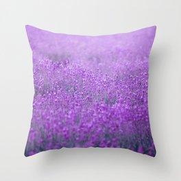 Rain on Lavender Throw Pillow