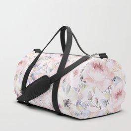 Pastel Summer Flower Watercolor Pattern Duffle Bag