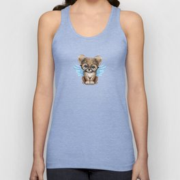 Cheetah Cub with Fairy Wings Wearing Glasses on Blue Unisex Tank Top
