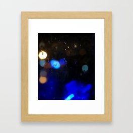 An abstract background with night lights and raindrops. Framed Art Print
