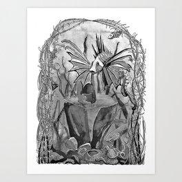 Underwater ink illustration Art Print
