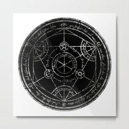 Human Transmutation Circle - silver grunge Metal Print