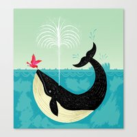 cup Canvas Prints featuring The Bird and The Whale by Oliver Lake