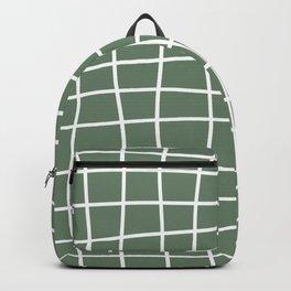 Hand Drawn Grid (white/sage green) Backpack
