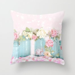 Shabby Chic Aqua Pink Roses Mason Jars Throw Pillow