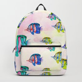 Abstract colorful watercolor fishes pattern Backpack