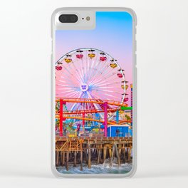 Santa Monica Pier, Sunset, Ferris Wheel, Sky, Pink, Colorful, Bright, Travel, California, Cali Clear iPhone Case