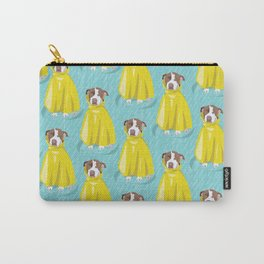 pit bull in rain coat Carry-All Pouch