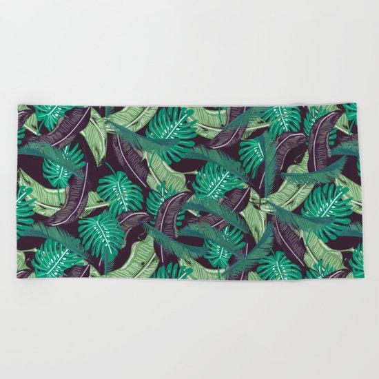 Tropical leaves I Beach Towel