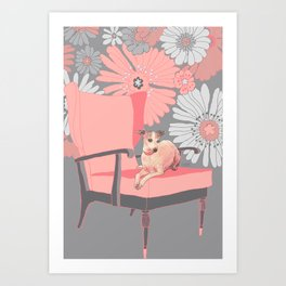 Dog in a chair #3 Italian Greyhound Art Print