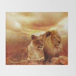 Lion couple | Couple de Lion Throw Blanket