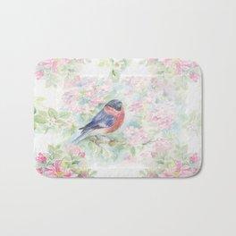 Bullfinch Bird in the Rose Garden Bath Mat