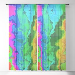Vibrant Marble Texture No3 - Rainbow Spectrum Sheer Curtain