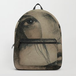 Graphic art, coal portrait, picture of beautiful girl with dark eyes Backpack