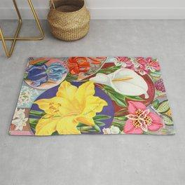 VINTAGE FLOWERS ILLUSTRATION Rug