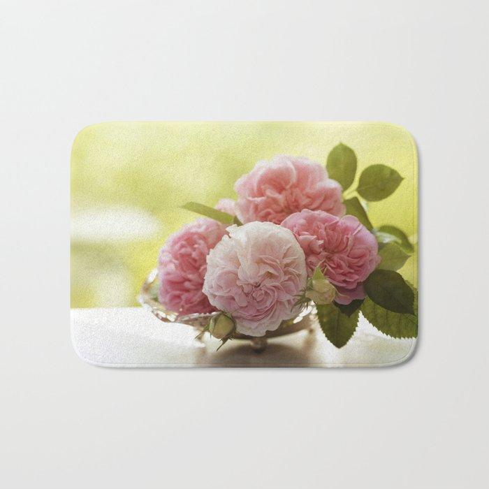 Pink Roses in a silver bowl- Vintage Rose Stilllife Photography Bath Mat
