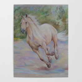 Palomino horse galloping Pastel drawing Horse portrait Equestrian decor Poster