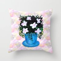 Blue Vase with Foliage and White Flowers Throw Pillow