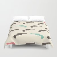 gun Duvet Covers featuring Gun by Grace