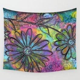 """Flower Madness""   Original painting by Mimi Bondi Wall Tapestry"