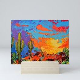 Saguaros Land Sunset Mini Art Print