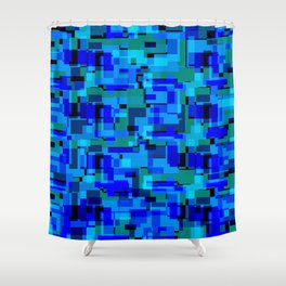 Bright tile of light blue intersecting rectangles and luminous bricks. Shower Curtain