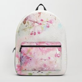 Pink Watercolor Floral Backpack