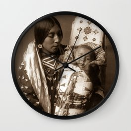 Apsaroke Mother and Child - Curtis - 1908 Wall Clock