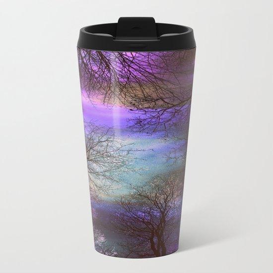 midnight trees purple green teal Metal Travel Mug