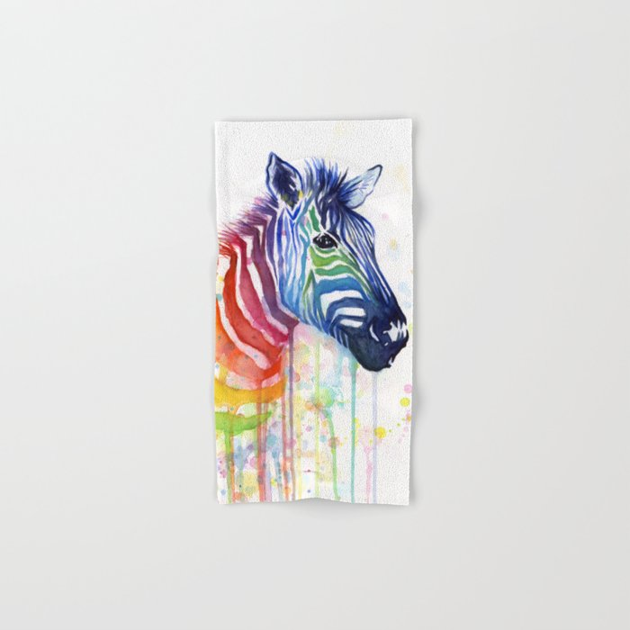 Zebra Rainbow Watercolor Whimsical Animal Hand & Bath Towel