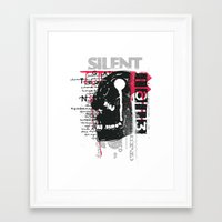 silent Framed Art Prints featuring Silent by Tshirt-Factory