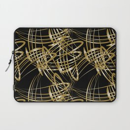 Gold lines for decoration in Victorian style on a black background. Laptop Sleeve