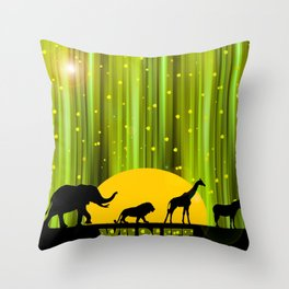 Africa Animals In The Magic Forest Throw Pillow