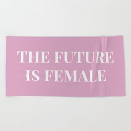 The future is female pink-white Beach Towel