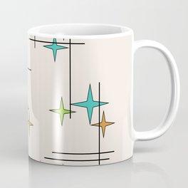 Mid Century Modern Stars Turquoise Chartreuse Orange Coffee Mug