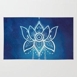 Blue Lotus Flower Mandala Rug