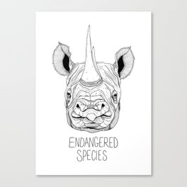 Endangered Species Rhino Canvas Print