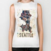 seattle Biker Tanks featuring Seattle by Artful Schemes