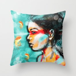 Goldfish Dreaming Throw Pillow