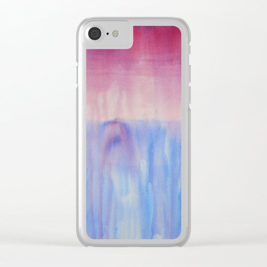 Waterfall, abstract watercolor Clear iPhone Case
