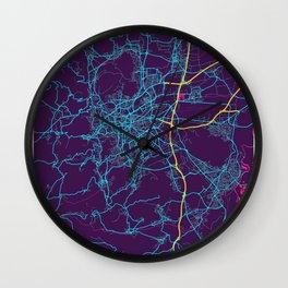 Clermont - Ferrand Neon City Map, Clermont - Ferrand Minimalist City Map Art Print Wall Clock