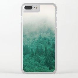 Misty Moody Mountain Forest Fog Northwest Oregon Washington Clear iPhone Case