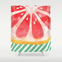 Red Grapefruit Abstract Shower Curtain