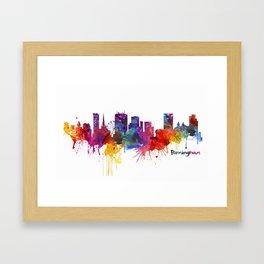 Birmingham Watercolor Skyline Framed Art Print