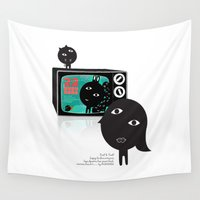 tv Wall Tapestries featuring TV by BUBUBABA