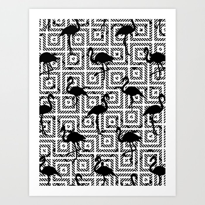 Bw geometric flamingos society6 decor buyart art print