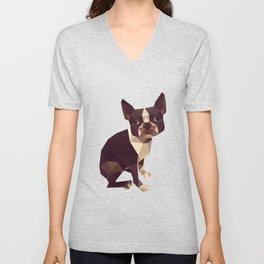 Low Polygon Boston Terrier Unisex V-Neck