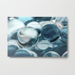 Blue Water Marbles Metal Print
